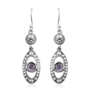 Artisan Crafted Rose De France Amethyst Sterling Silver Earrings TGW 1.02 cts.