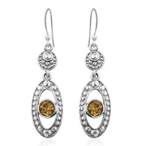 Brazilian Citrine Sterling Silver Dangle Earrings TGW 0.92 cts.