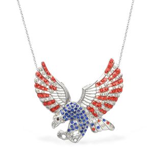 Multi Color Austrian Crystal Silvertone & Stainless Steel Eagle Necklace (22 in)