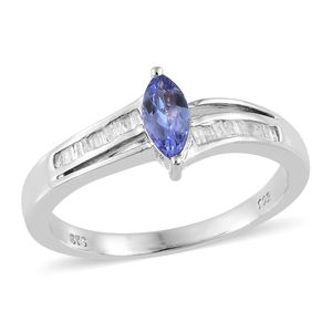 Tanzanite, Diamond Platinum Over Sterling Silver Ring (Size 7.0) TDiaWt 0.15 cts, TGW 0.65 cts.