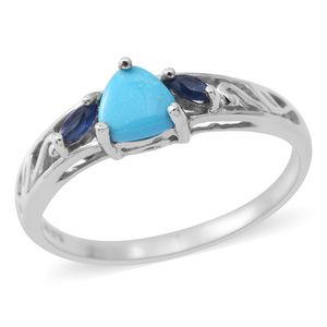 Arizona Sleeping Beauty Turquoise, Madagascar Blue Sapphire Platinum Over Sterling Silver Ring (Size 7.0) TGW 0.74 cts.
