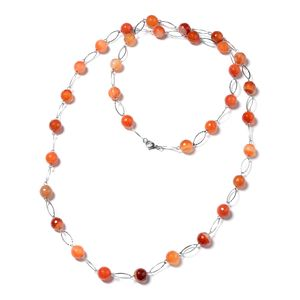 Enhanced Orange Agate Beads Stainless Steel Necklace (44 in) TGW 350.00 cts.