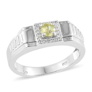 Madagascar Sphene, Cambodian Zircon Platinum Over Sterling Silver Men's Signet Ring (Size 12.0) TGW 0.80 cts.
