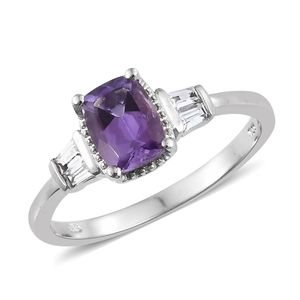 Moroccan Amethyst, Cambodian Zircon Platinum Over Sterling Silver Ring (Size 7.0) TGW 1.81 cts.
