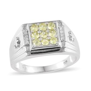 Madagascar Sphene, Diamond Platinum Over Sterling Silver Men's Ring (Size 10.0) TDiaWt 0.05 cts, TGW 1.01 cts.