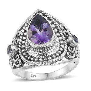 Artisan Crafted Rose De Maroc Amethyst, Tanzanite Ring in Sterling Silver 3.34 cttw (Size 7.0)