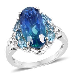 Indian Ocean Quartz, Multi Gemstone Platinum Over Sterling Silver Leaf Ring (Size 8.0) TGW 9.50 cts.