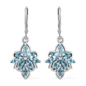 Madagascar Paraiba Apatite Platinum Over Sterling Silver Earrings TGW 2.15 cts.