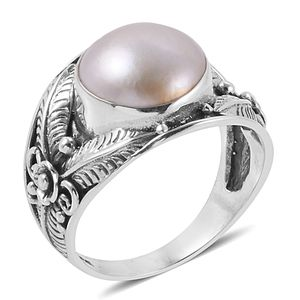 Bali Legacy Collection Mabe Pearl - White Sterling Silver Ring (Size 7.0) TGW 5.50 cts.