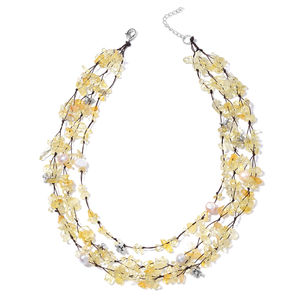 Brazilian Citrine, Freshwater Pearl - Natural Color Black Oxidized Silvertone THree-row Chips Necklace (18 in) TGW 371.00 cts.