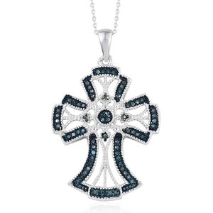 Blue Diamond (IR) Blue Rhodium & Platinum Over Sterling Silver Cross Pendant With Chain (20 in) TDiaWt 0.33 cts, TGW 0.33 cts.