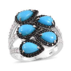 Arizona Sleeping Beauty Turquoise, Multi Gemstone Platinum Over Sterling Silver Ring (Size 7.0) TGW 5.48 cts.