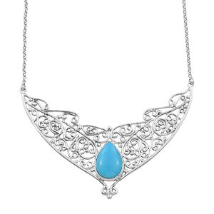 Artisan Crafted Arizona Sleeping Beauty Turquoise Sterling Silver Openwork Princess Necklace (18 in) TGW 7.90 cts.