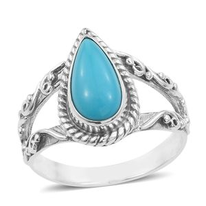 Artisan Crafted Arizona Sleeping Beauty Turquoise Sandblasted Sterling Silver Split Ring (Size 7.0) TGW 2.53 cts.