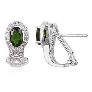 Russian Diopside, White Topaz Sterling Silver Omega Clip Earrings TGW 1.68 cts.