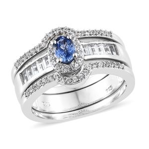 Ceylon Blue Sapphire, Cambodian Zircon Platinum Over Sterling Silver Stackable Rings (Size 7.0) TGW 1.87 cts.