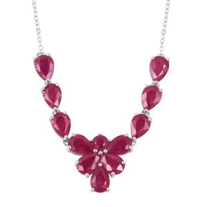 Niassa Ruby Sterling Silver Princess Necklace (18 in) TGW 11.80 cts.