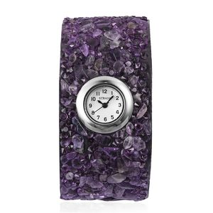 STRADA Amethyst, Purple Austrian Crystal Japanese Movement Water Resistant Cuff Bracelet Watch in Silvertone with Stainless Steel Back TGW 133.25 cts.
