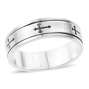 Artisan Crafted Sterling Silver Cross Spinner Ring (Size 7.0)