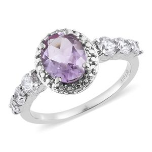 Rose De France Amethyst, Simulated Diamond Stainless Steel Ring (Size 8.0) TGW 4.23 cts.