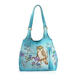 SUKRITI - Turquoise Ombre Genuine Leather Hand Painted Owl Hobo Bag (14x3.5x12 in)