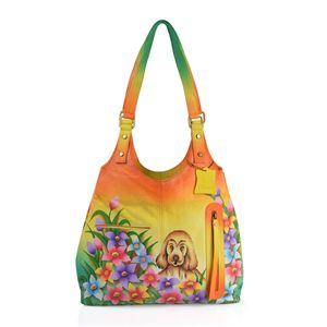 SUKRITI - Sunshine Ombre Genuine Leather Hand Painted Dog Hobo Bag (14x3.5x12 in)