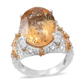 Brazilian Citrine 14K YG and Platinum Over Sterling Silver Openwork Ring (Size 9.0) TGW 10.92 cts.