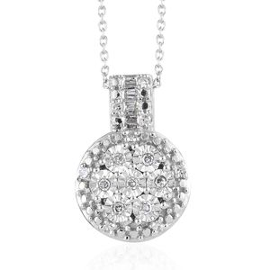 Diamond Platinum Over Sterling Silver Pendant, With Chain (20 in) TDiaWt 0.15 cts, TGW 0.15 cts.