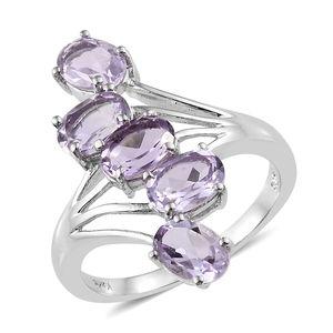 KARIS Collection - Rose De France Amethyst Platinum Bond Brass 5 Stone Ring (Size 7.0) TGW 3.50 cts.