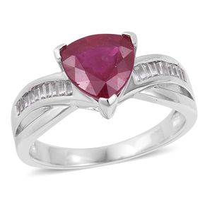 Niassa Ruby, White Topaz Sterling Silver Ring (Size 7.0) TGW 3.65 cts.