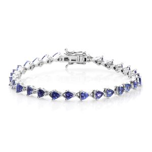 Premium AAA Tanzanite Platinum Over Sterling Silver Bracelet (7.25 In) TGW 6.95 cts.