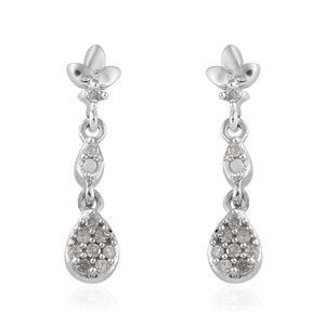 Diamond Platinum Over Sterling Silver Earrings TDiaWt 0.15 cts, TGW 0.15 cts.