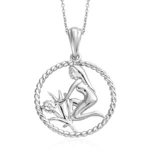 Virgo Platinum Over Sterling Silver Maiden Pendant With Chain (20 in)