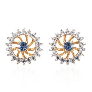 Ceylon Blue Sapphire, Cambodian Zircon Vermeil YG Over Sterling Silver Stud Earrings TGW 1.04 cts.