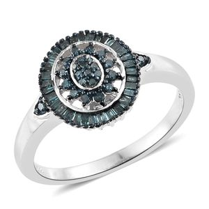 Blue Diamond (IR) Platinum Over Sterling Silver Ring (Size 9.0) TDiaWt 0.50 cts, TGW 0.50 cts.