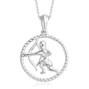 Sagittarius Platinum Over Sterling Silver Archer Pendant With Chain (20 in)