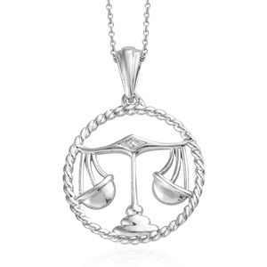 Libra Platinum Over Sterling Silver Scales Pendant With Chain (20 in)