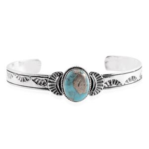 Santa Fe Style Turquoise Lava Sterling Silver Cuff (7 in) TGW 5.50 cts.