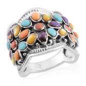 Santa Fe Style Kingman Turquoise, Multi Gemstone Sterling Silver Floral Ring (Size 6.0) TGW 1.87 cts.