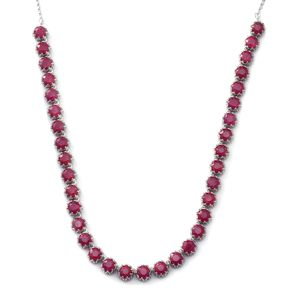 Niassa Ruby Sterling Silver Princess Necklace (18 in) TGW 35.00 cts.