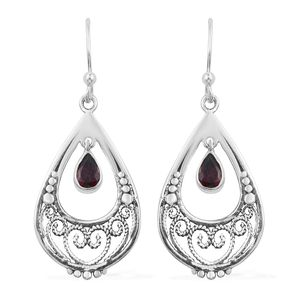 Artisan Crafted Orissa Rhodolite Garnet Sterling Silver Earrings TGW 1.13 cts.