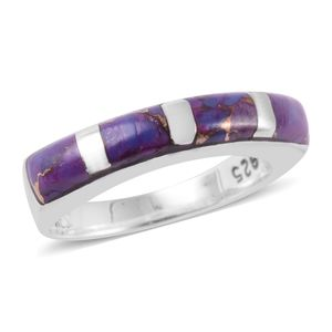 Santa Fe Style Mojave Purple Turquoise Sterling Silver Band Ring (Size 6.0) TGW 3.50 cts.