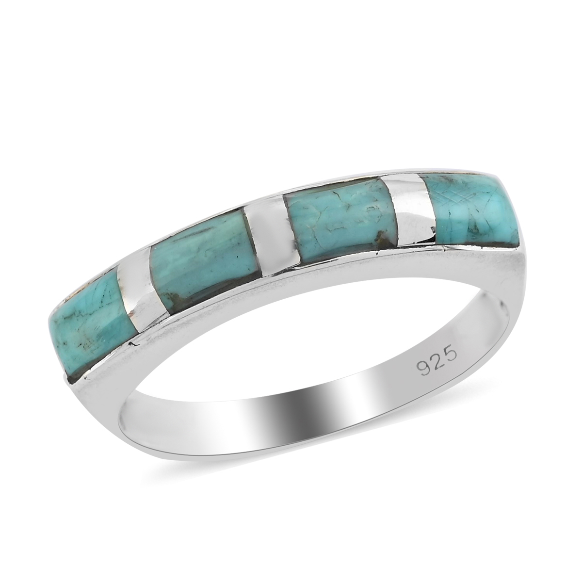 Santa Fe Style Kingman Turquoise Sterling Silver Band Ring (Size 9.0) TGW 3.50 cts.