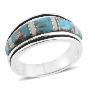 Santa Fe Style Mojave Turquoise, Lab Created Opal Sterling Silver Band Ring (Size 7.0) TGW 4.50 cts.