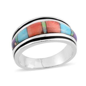 Santa Fe Style Kingman Turquoise, Multi Gemstone Sterling Silver Band Ring (Size 11.0) TGW 3.60 cts.