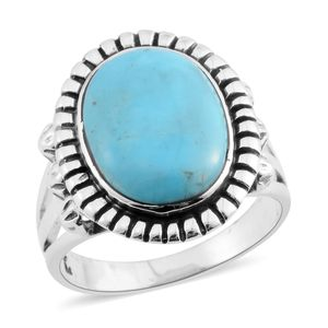 Santa Fe Style Kingman Turquoise Sterling Silver Ring (Size 9.0) TGW 6.50 cts.