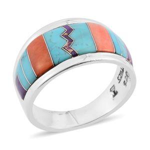 Santa Fe Style Kingman Turquoise, Multi Gemstone Sterling Silver Band Ring (Size 9.0) TGW 1.50 cts.