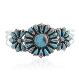 Santa Fe Style Lava Turquoise Sterling Silver Floral Cuff (7 in) TGW 20.00 cts.