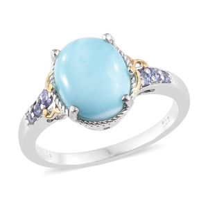 Larimar, Tanzanite Vermeil YG and Platinum Over Sterling Silver Ring (Size 7.0) TGW 5.41 cts.
