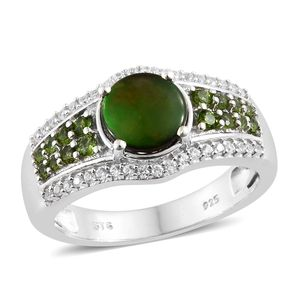 Canadian Ammolite, Multi Gemstone Platinum Over Sterling Silver Ring (Size 9.0) TGW 2.35 cts.